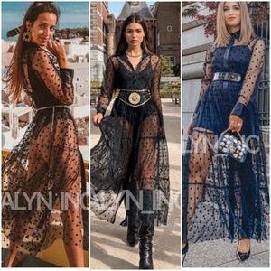 ZARA LONG POLKA DOT TULLE DRESS SHIRT-STYLE BLACK